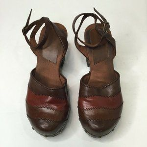 Womens Brown Leather Round Toe Ankle Strap Heels
